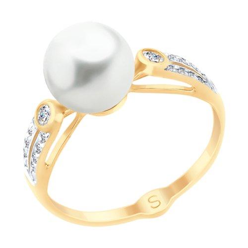 Кольцо из золота с жемчугом и фианитами (791061) - фото