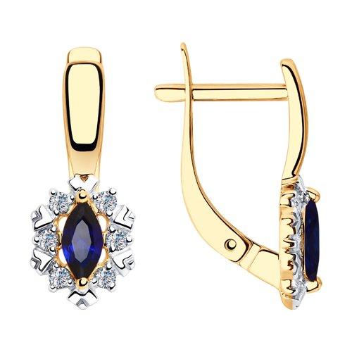 Серьги из золота с синими корундами и фианитами (725739) - фото