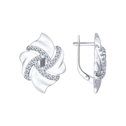 Серьги из серебра с фианитами (94022014) - фото
