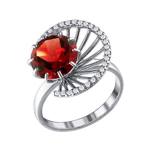 Кольцо из серебра с гранатом и фианитами кольцо sokolov из серебра с гранатом и фианитами