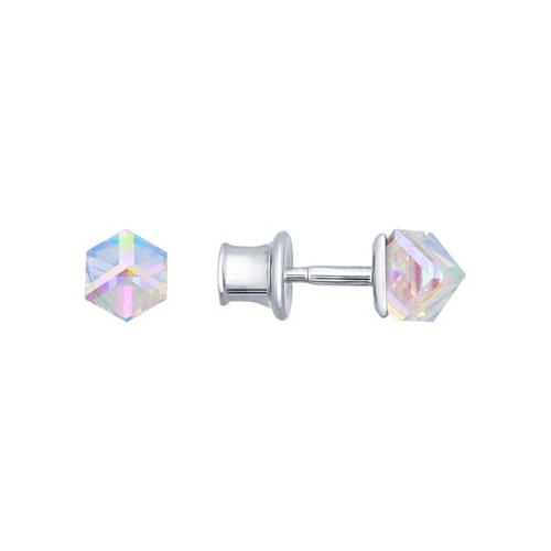Фото - Серьги-пусеты SOKOLOV из серебра с кристаллами Swarovski ura jewelry серые серьги пусеты из серебра котики ura jewelry