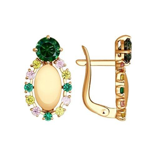 Серьги SOKOLOV из золота с жёлтыми, зелеными и розовыми фианитами