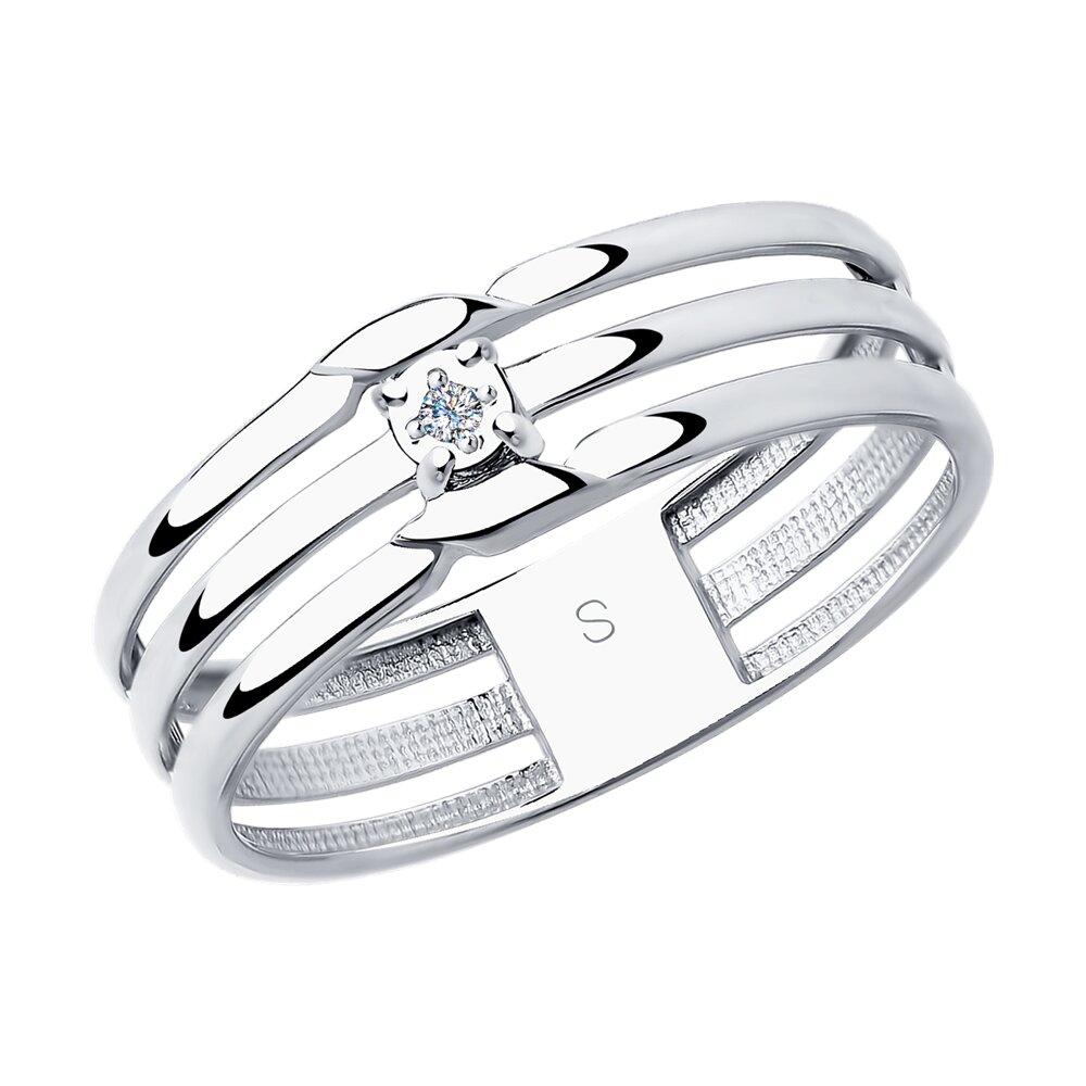Кольцо SOKOLOV из серебра с бриллиантом фото