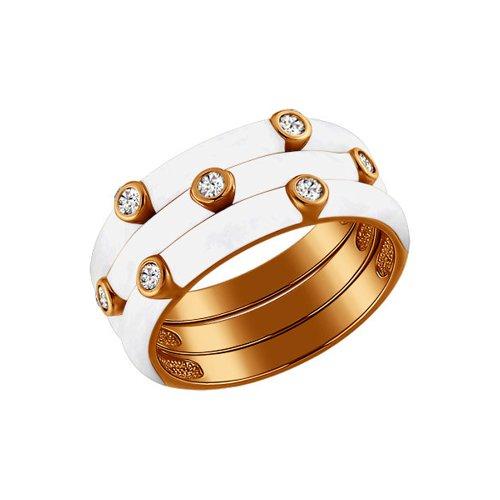 Позолоченное наборное кольцо (93010327) - фото