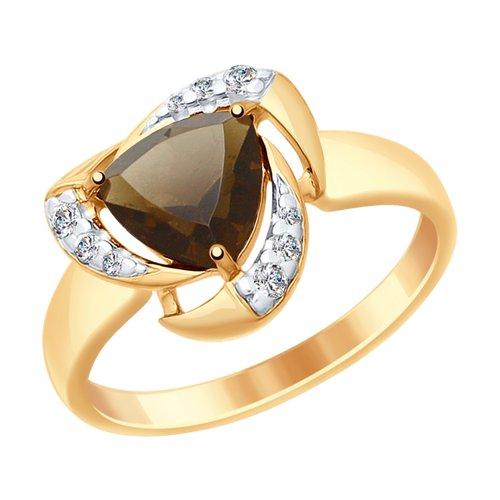 Кольцо из золочёного серебра с раухтопазом и фианитами (92011477) - фото