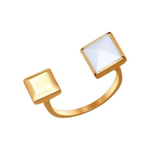 Кольцо из золота с ситаллом-кахолонгом