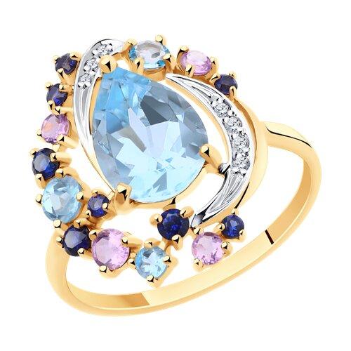 Кольцо из золота с миксом камней (715919) - фото
