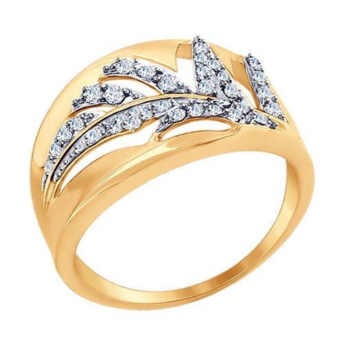 Кольцо из золота с фианитами (018167) - фото