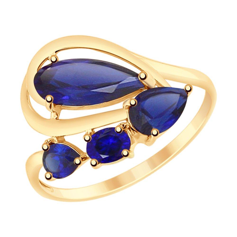 Кольцо SOKOLOV из золота с синими корундами (синт.) gucci пуховик с синт наполнителем