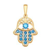 Подвеска «Рука Фатимы» с голубыми ситаллами