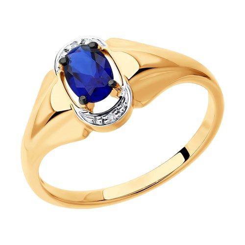 Кольцо из золота с бриллиантами и синим корунд (синт.) (6012145) - фото