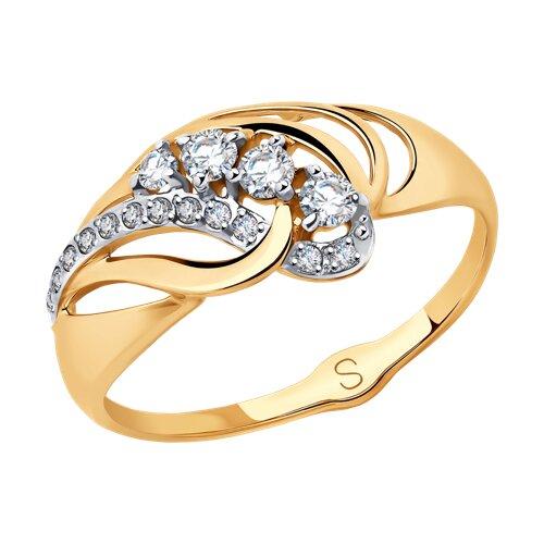 Кольцо из золота с фианитами (018035) - фото