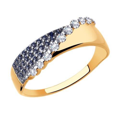 Кольцо из золота с фианитами (018014) - фото