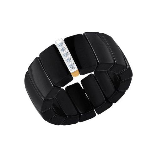 Чёрное керамическое кольцо с золотом и бриллиантами SOKOLOV