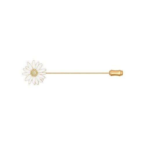 Брошь из золочёного серебра с эмалью с жёлтыми фианитами