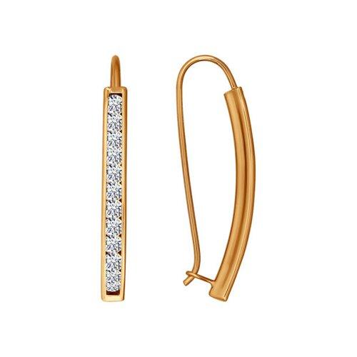 Серьги-протяжки из золота с фианитовой обоймой