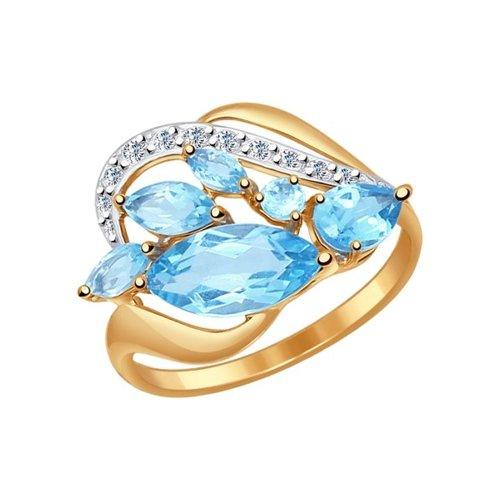 Кольцо из золота с голубыми топазами и фианитами (714499) - фото