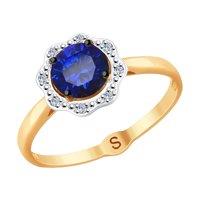 Кольцо из золота с бриллиантами и синим корундом (синт.)