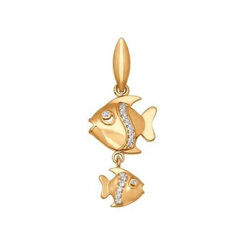 Подвеска «Знак зодиака Рыбы» с фианитами