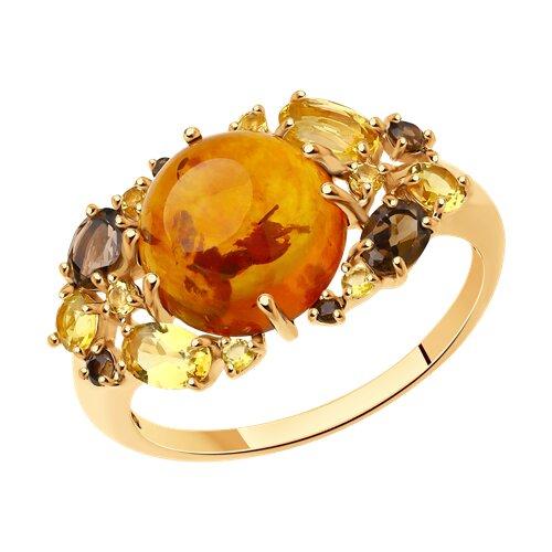 Кольцо из золота с миксом камней (714349) - фото
