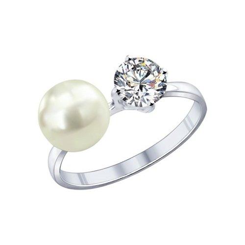 Кольцо из серебра с жемчугом и фианитом