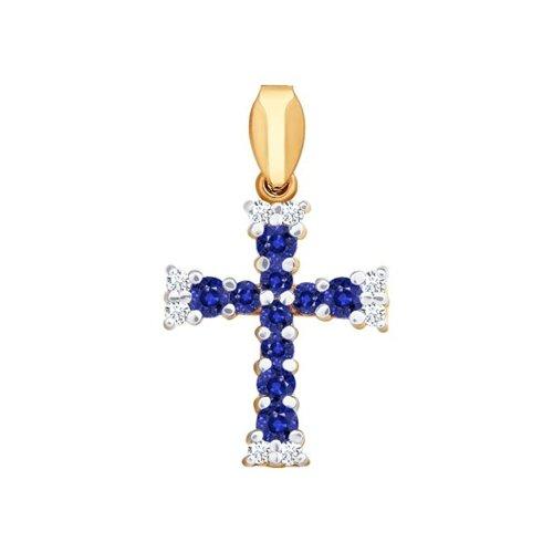 Крест из золота с бриллиантами и сапфирами