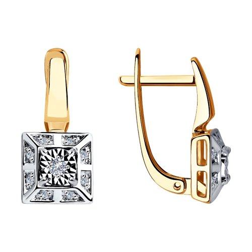 Серьги из комбинированного золота с бриллиантами (1021325) - фото