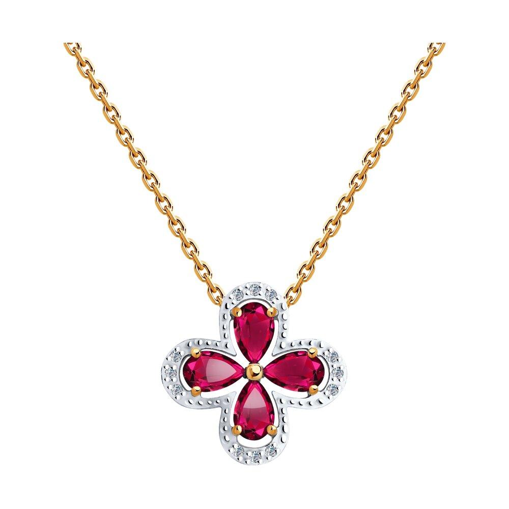 Колье SOKOLOV из золота с бриллиантами и рубинами колье love с ювелирным стеклом рубинами и фианитом из комбинированного золота