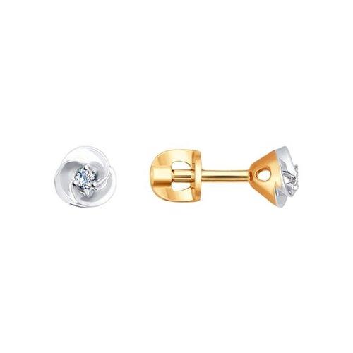 Серьги-пусеты из золота с бриллиантами (1020920) - фото