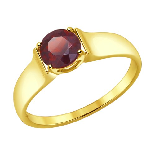 Кольцо из желтого золота с гранатом