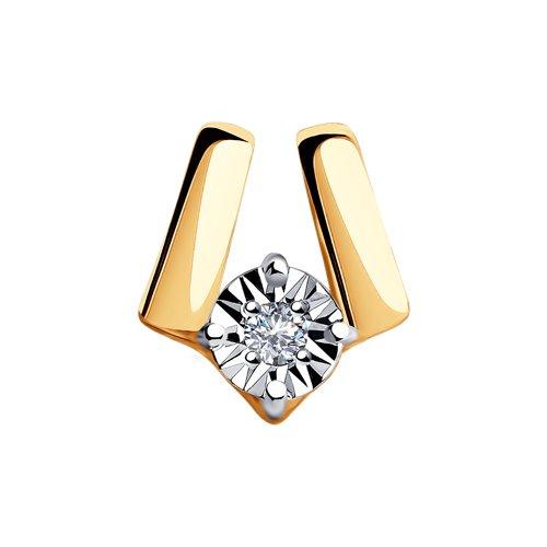 Подвеска из комбинированного золота с бриллиантом (1030742) - фото