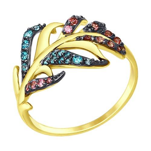 Кольцо SOKOLOV из желтого золота с зелеными и розовыми фианитами