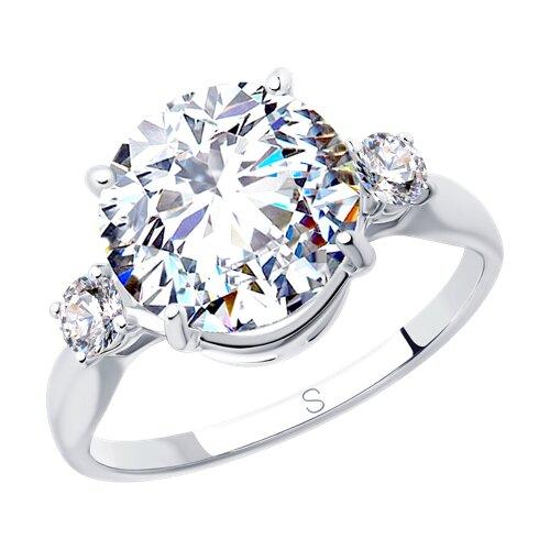 Кольцо из серебра с фианитами (94012849) - фото