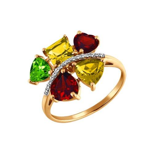 Кольцо с миксом SOKOLOV из полудрагоценных камней