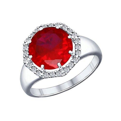 Кольцо из серебра с корундом рубиновым (синт.) и фианитами