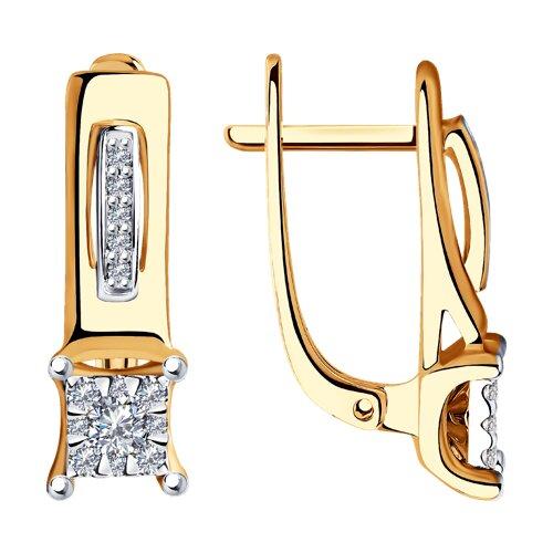 Серьги из комбинированного золота с бриллиантами 1021394 SOKOLOV фото