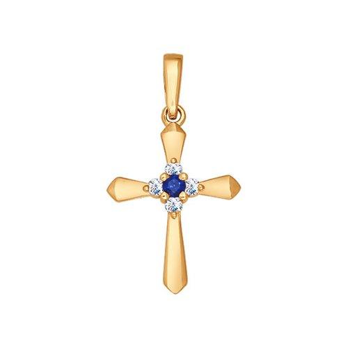 Крест из золота с бриллиантами и сапфиром