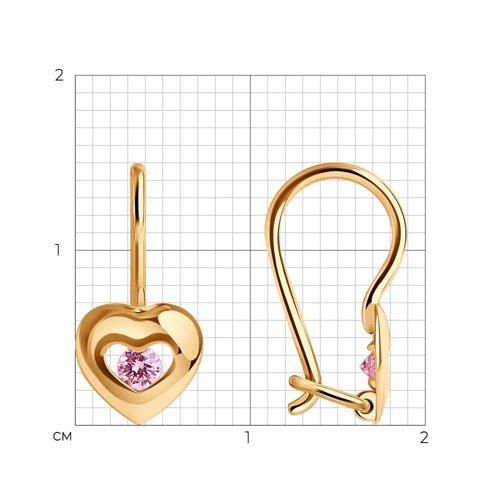 Серьги из золота с розовыми фианитами (027228) - фото №2