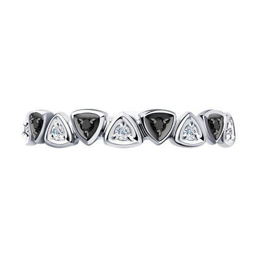 Кольцо из белого золота с бесцветными и чёрными бриллиантами (7010051) - фото №3
