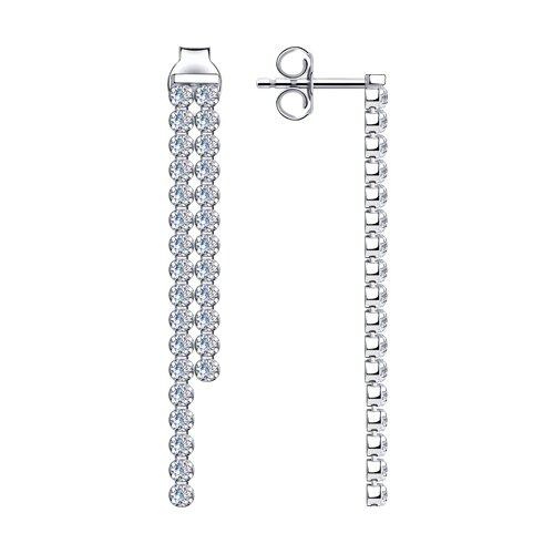 Серьги из серебра с фианитами (94024524) - фото