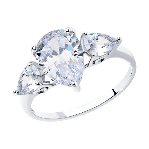 Кольцо из серебра с крупными фианитами (94011767) - фото