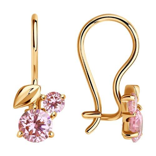 Серьги из золота с розовыми фианитами (026837) - фото