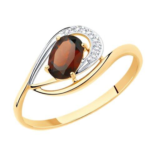 Кольцо из золота с гранатом и фианитами (715952) - фото