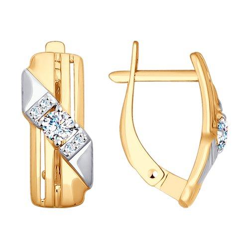 Серьги из золота с фианитами (028060) - фото