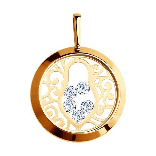 Подвеска из золота со Swarovski Zirconia и минеральным стеклом (035468) - фото