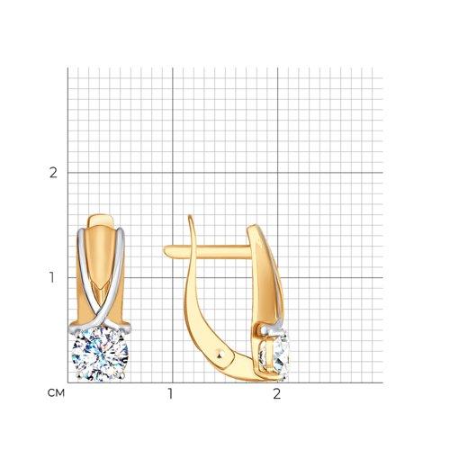 Серьги из золота с фианитами (027432) - фото №2