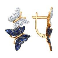 Серьги «Бабочки» с бриллиантами и корундами