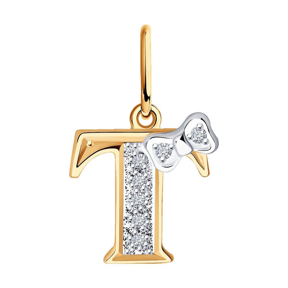 Подвеска SOKOLOV из золота с буквой «Т» позолоченная подвеска с буквой а sokolov