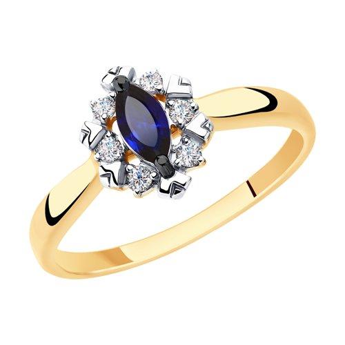 Кольцо из золота с синими корундами и фианитами (715401) - фото