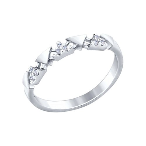 Кольцо из серебра с фианитами (94012263) - фото